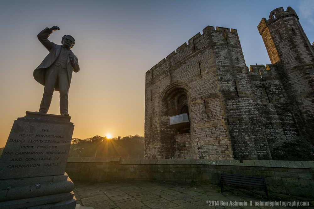 Castle And Statue, Caernarfon, Wales, UK