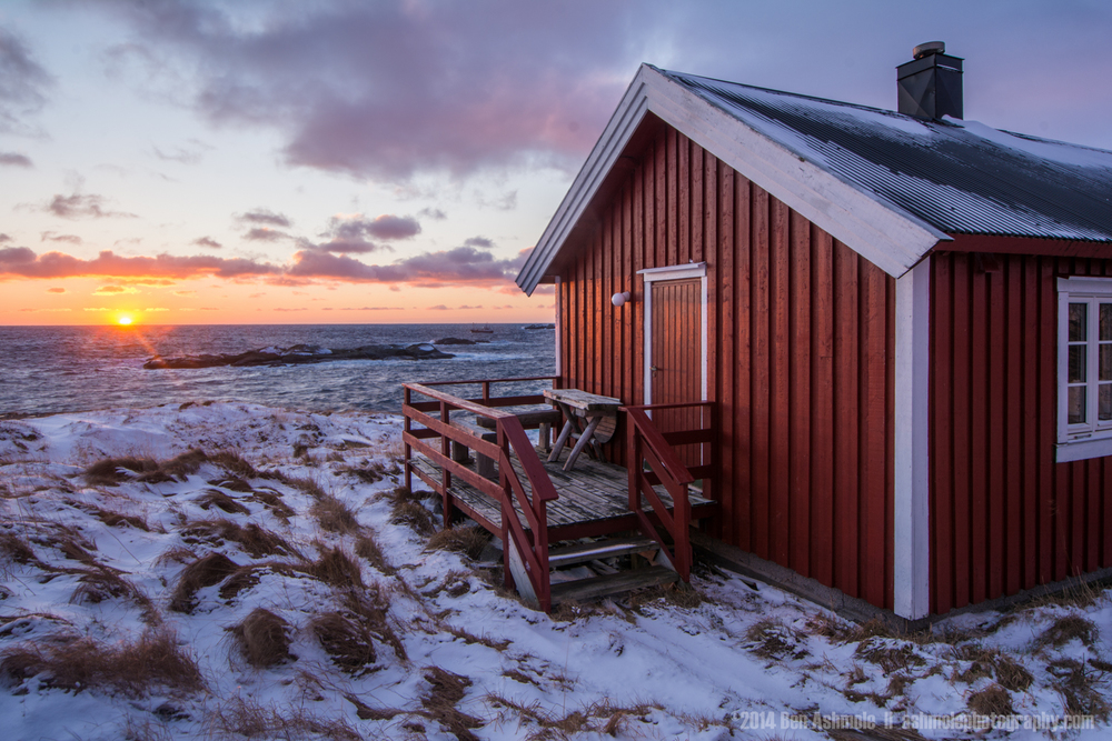 Cabin At Sunset, Reine, Lofoten Islands, Norway