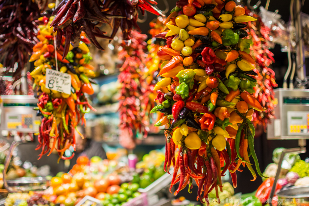 Hanging Chilli Peppers, La Boqueria, Barcelona, Spain