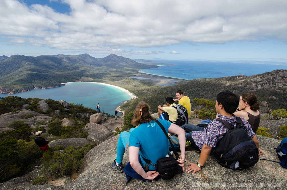 Tour Group Wine Glass Bay, Tasmania, Australia