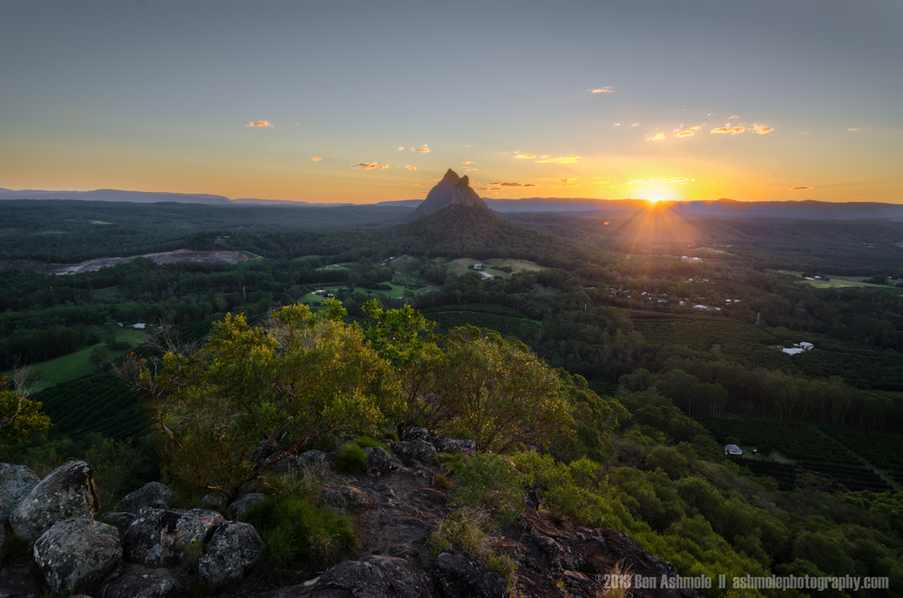 Sunset From Mt Ngungun, Glasshouse Mountains National Park, Quee