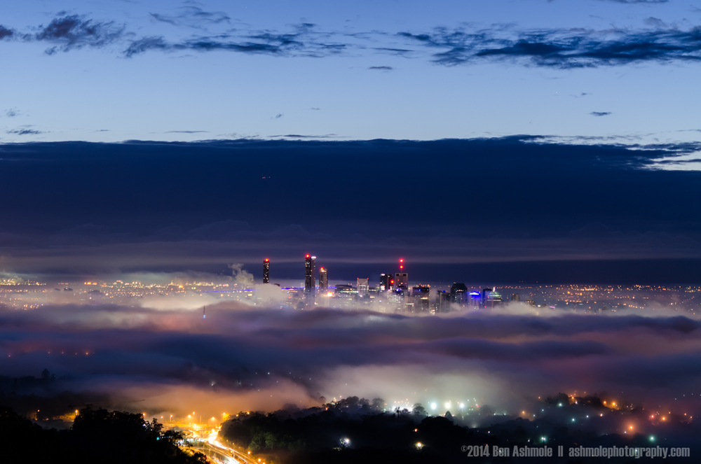 Brisbane Under Fog At Night, Mt Coot-Tha, Australia