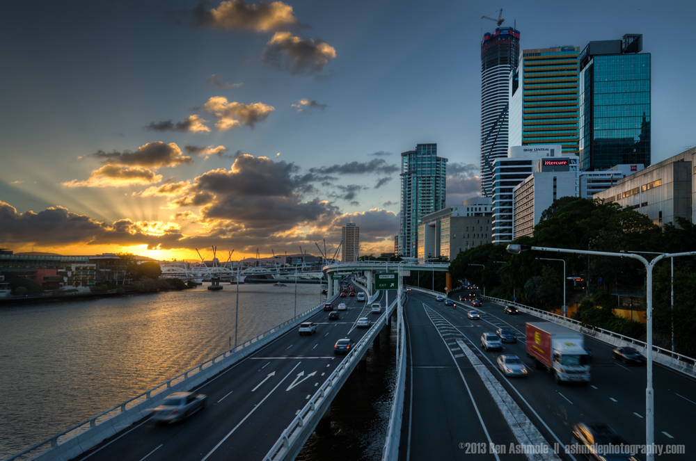 Sunset By The Pacific Motorway, Brisbane, Queensland, Australia