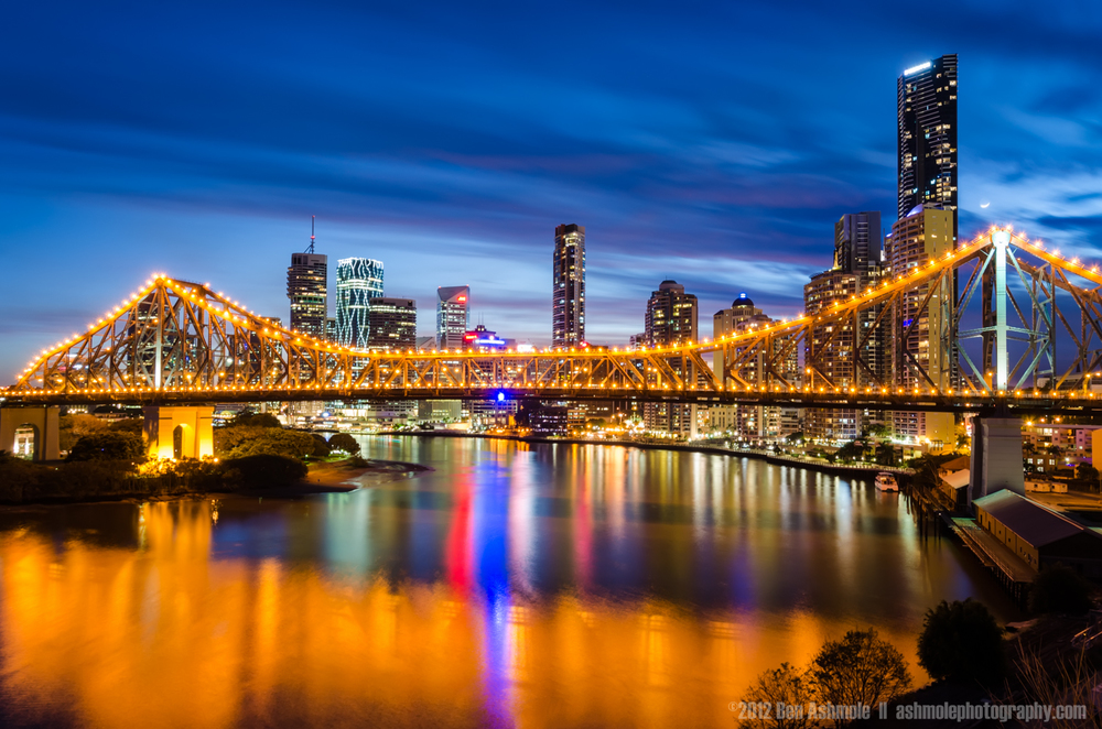 Brisbane and the Story Bridge in Blue Hour, Australia, Ben Ashmo