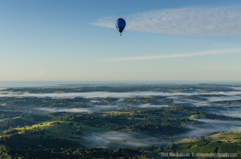 Hot Air Balloon In Flight, Byron Bay, NSW, Australia