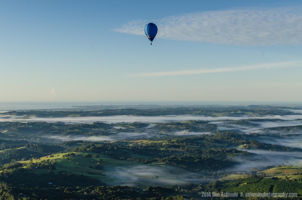 Hot Air Balloon In Flight, Byron Bay, NSW, Australia