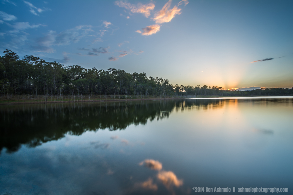 Mirrored Sunset, Lake Samsonvale, QLD, Australia