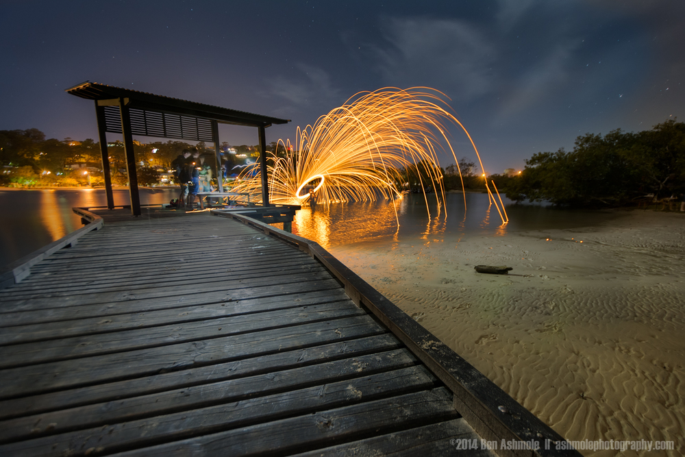 Fire Spinning From The Jetty, Currumbin, QLD, Australia