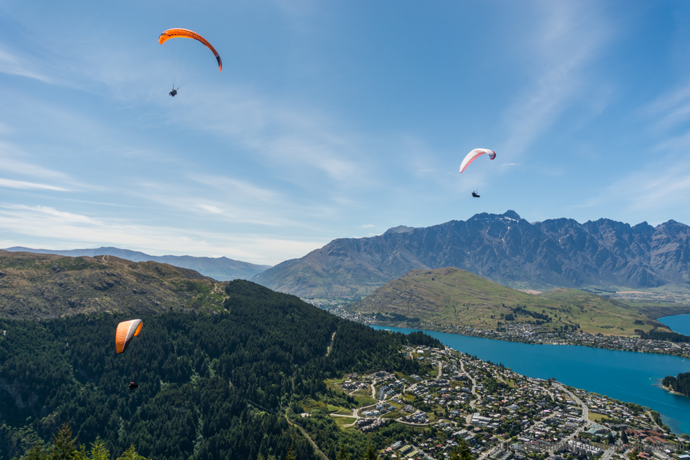 Paragliders Over Queenstown, New Zealand