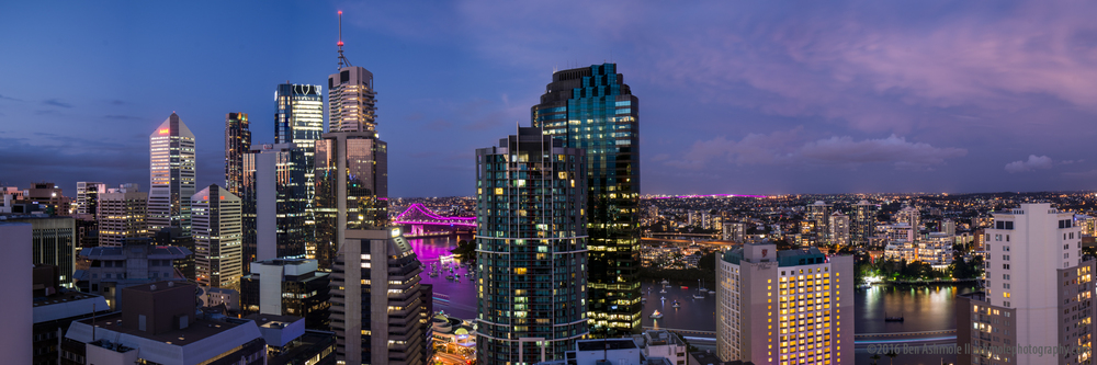 Brisbane City Blue Hour Panorama, Queensland, Australia