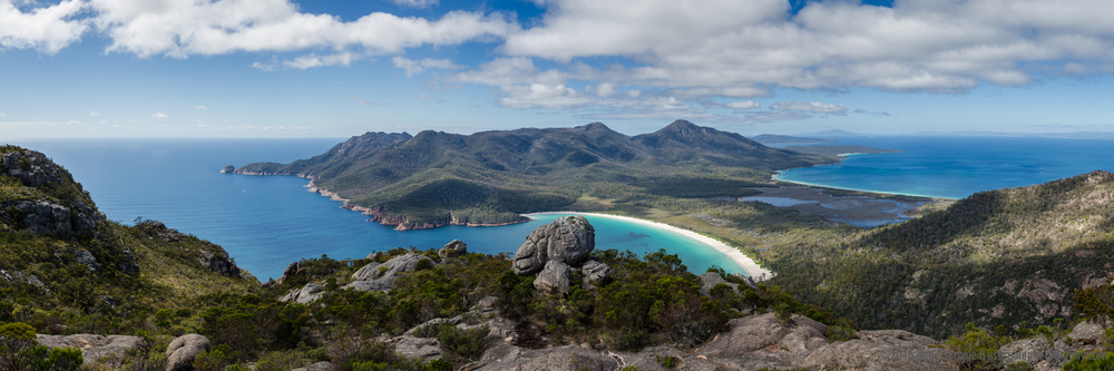 Wine Glass Bay Panorama, Freycinet National Park, Tasmania, Aust