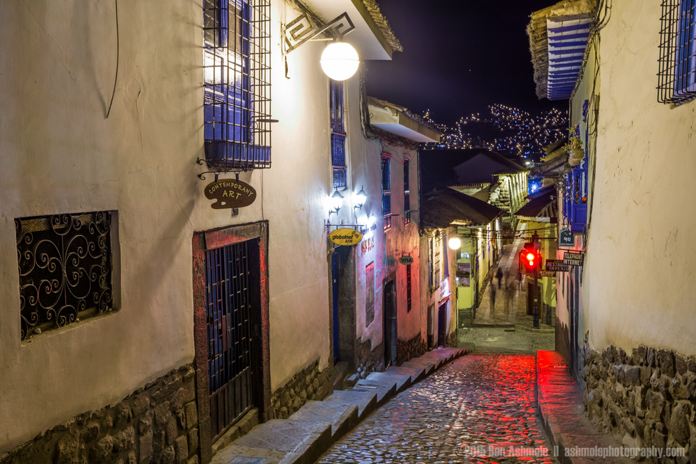 Streets Of San Blas At Night, Cusco, Peru
