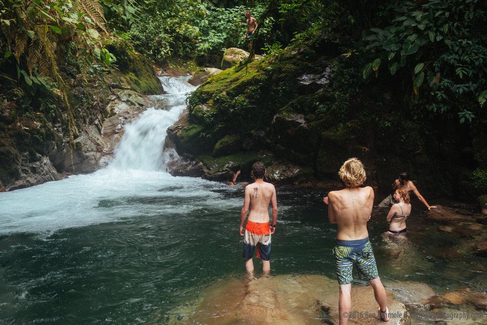 Playing In An Amazonian Waterfall, Mera, Ecuador
