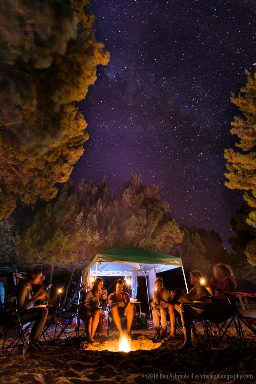 Campfire Under The Stars, Rainbow Beach, Queensland, Australia