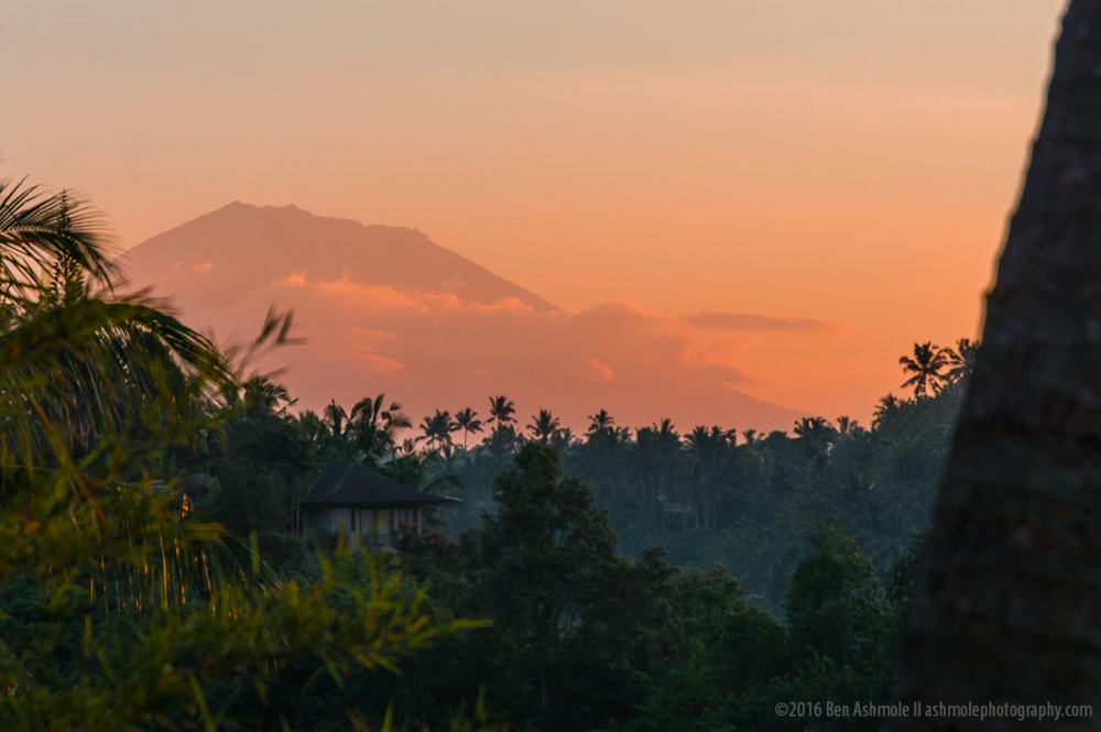 Mt Agung Painted Red, Ubud, Bali, Indonesia