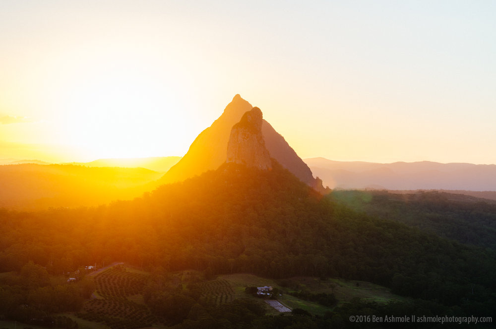 Sunset, Mt Beerwah, Glasshouse Mountains, Australia