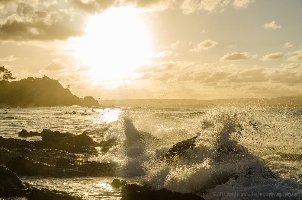 Wave, Sunset & Surfers, Wategos Beach, Byron Bay, Australia