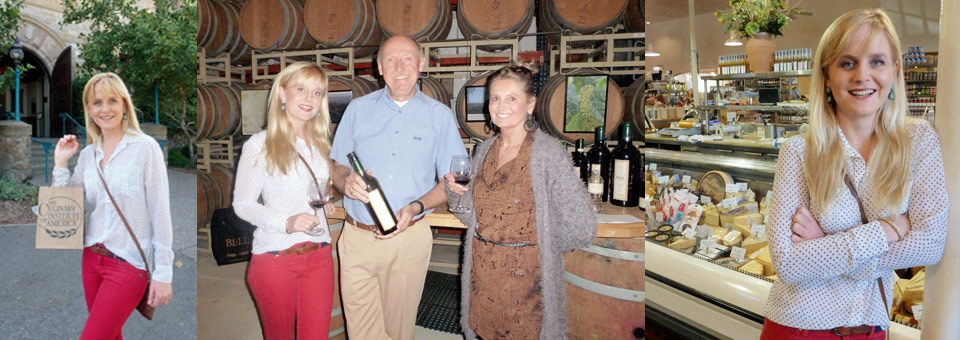 (l-r) Culinary Institute of America in Saint Helena / With Cheryl Goss and South African-born winemaker Anthony Bell / Revellining in the culinary abundance at Dean and DeLuca / Sunday Times (p)