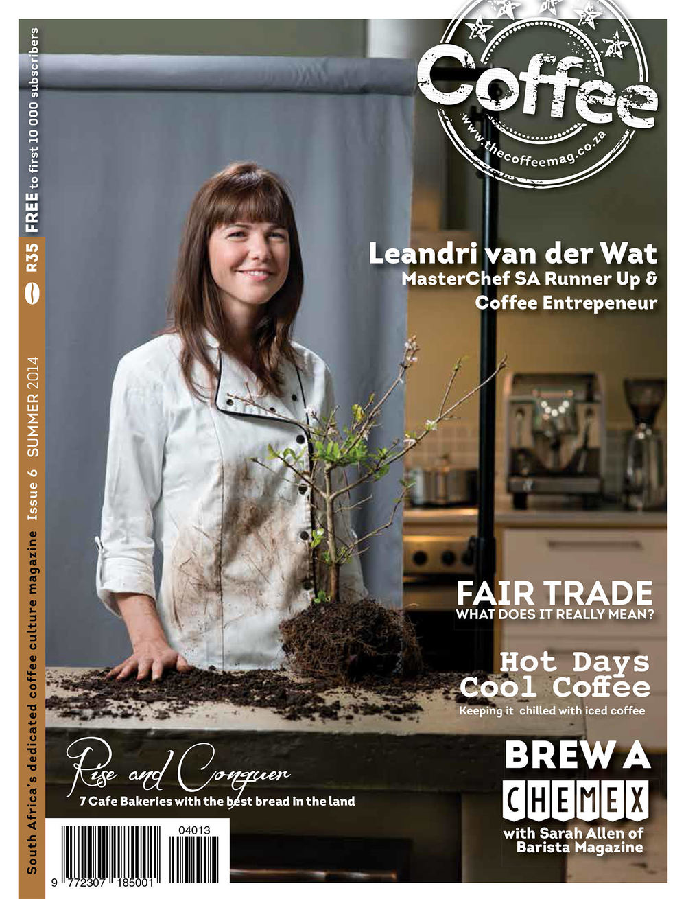 Leandri van der Wat wearing her JC Chef Jacket for The Coffee Mag cover shoot