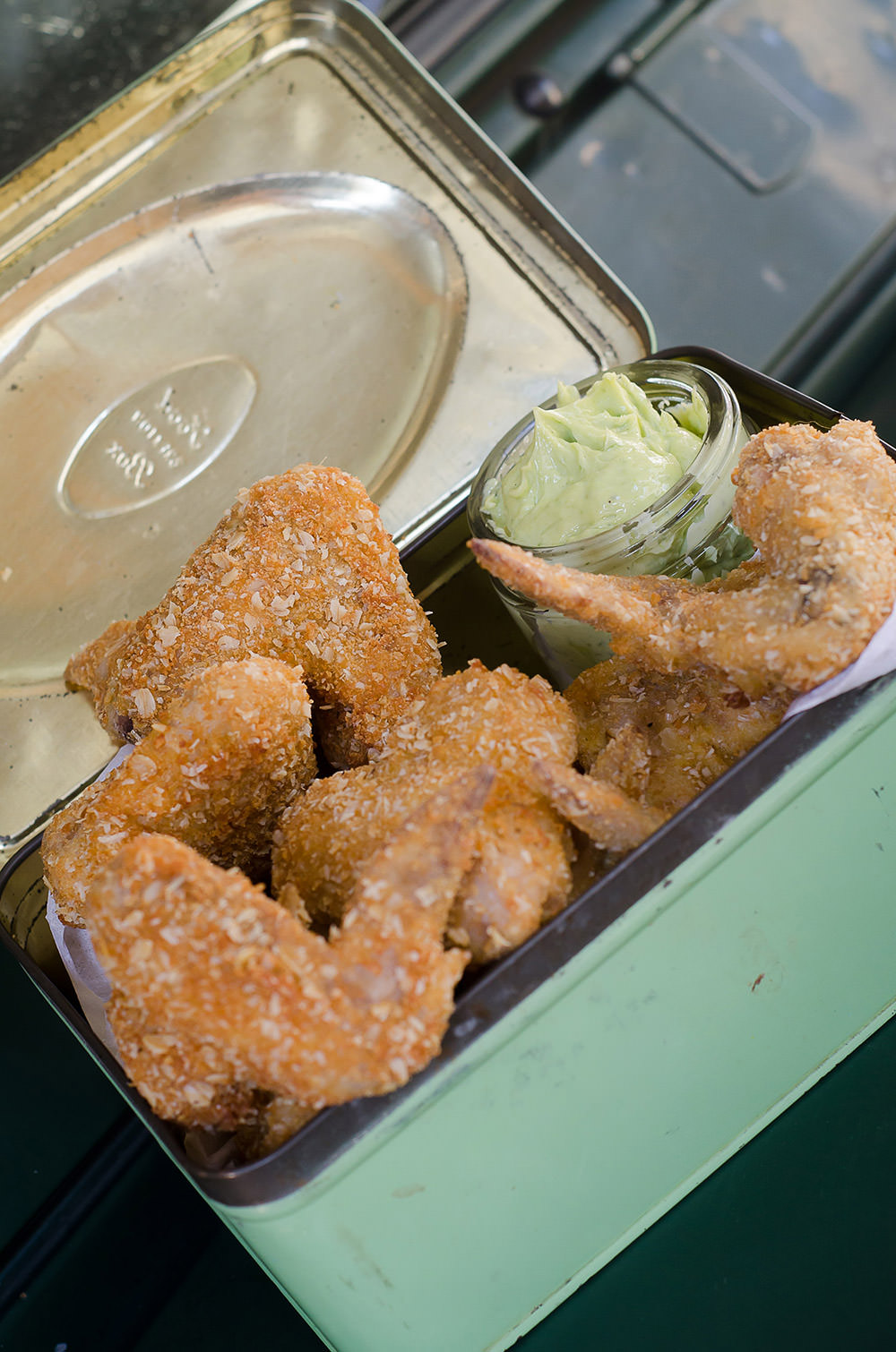 Oats Coated Chicken Wings and a Herb Mayonnaise / Karen E. Photography (p)