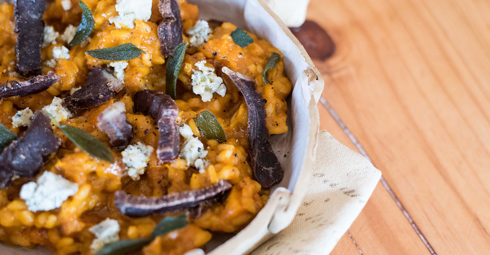 Roasted Butternut Risotto with Woodview Wagyu Biltong / Kate Martens (p)