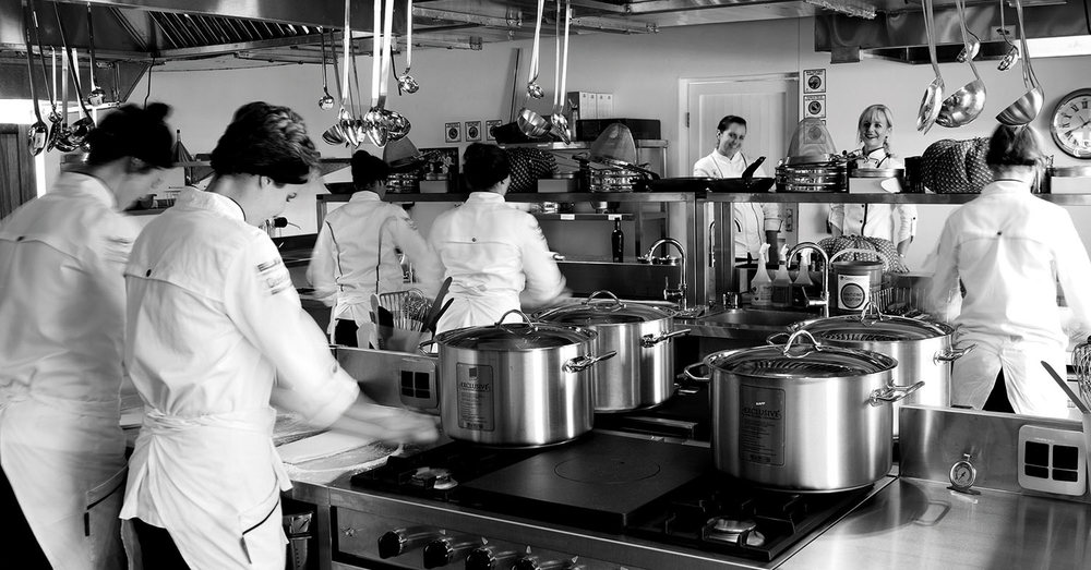 Jackie Cameron and her assistant Elaine Boshoff put the five students of the Jackie Cameron School of Food and Wine through their paces in the student kitchen.