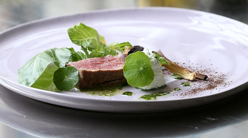 Hay-smoked Beef Fillet with Leek Purée and Ashed Leeks / SA Country Life (p)