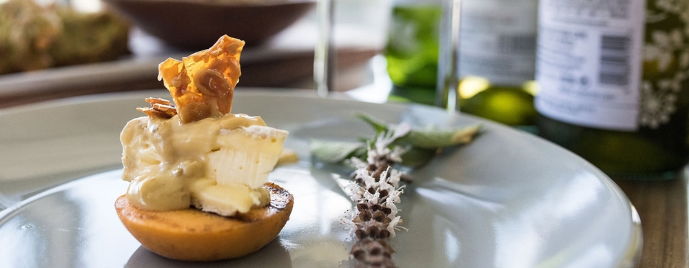 seared peach with a well matured camembert