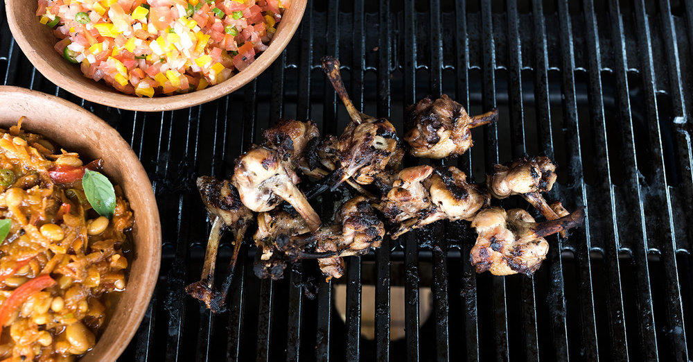 Chicken wings with salsa and chakalaka