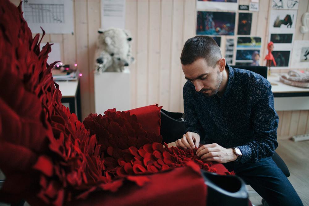 The blossoming chair for the Vilnius Film Festival. Photo by Šarūnė Zurba