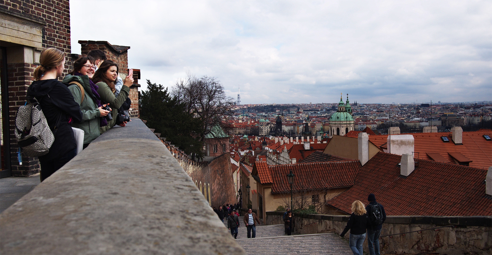 Our view from the castle stairs. Prague remained mostly undamaged during WWII because Hitler wanted to preserve the city for future use.
