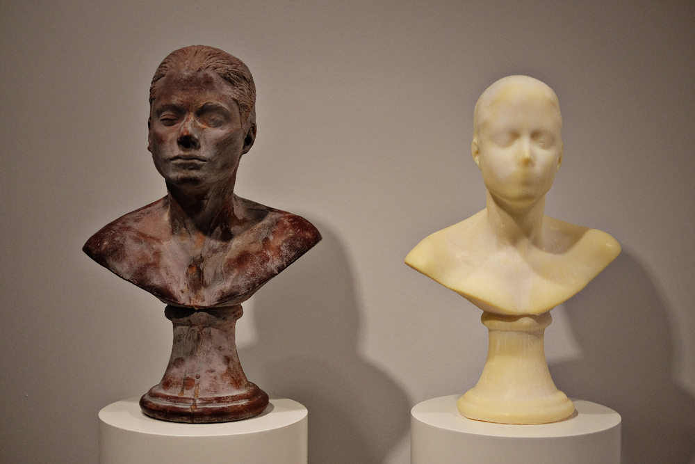 One bust made of chocolate, one made of hand lotion. Part of the Unfinished exhibition at Met Breuer.