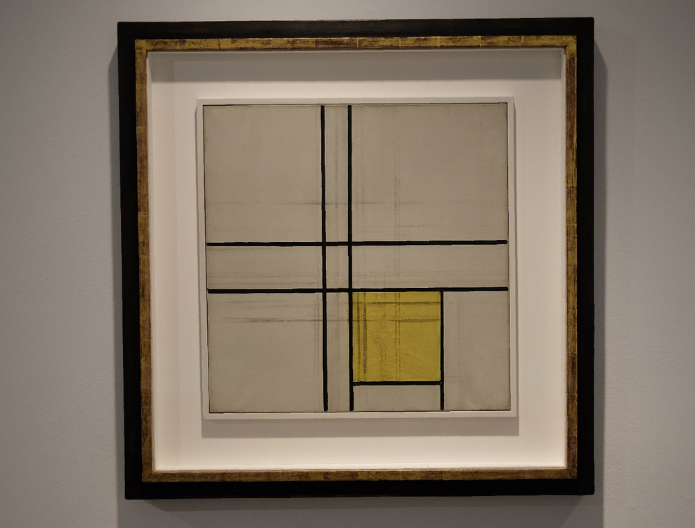 An in-process Mondrian painting revealed the developmental stages of this minimalist painter.