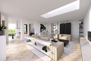Strakke warme interieurs. stunning woonkamer in warme tinten moderne