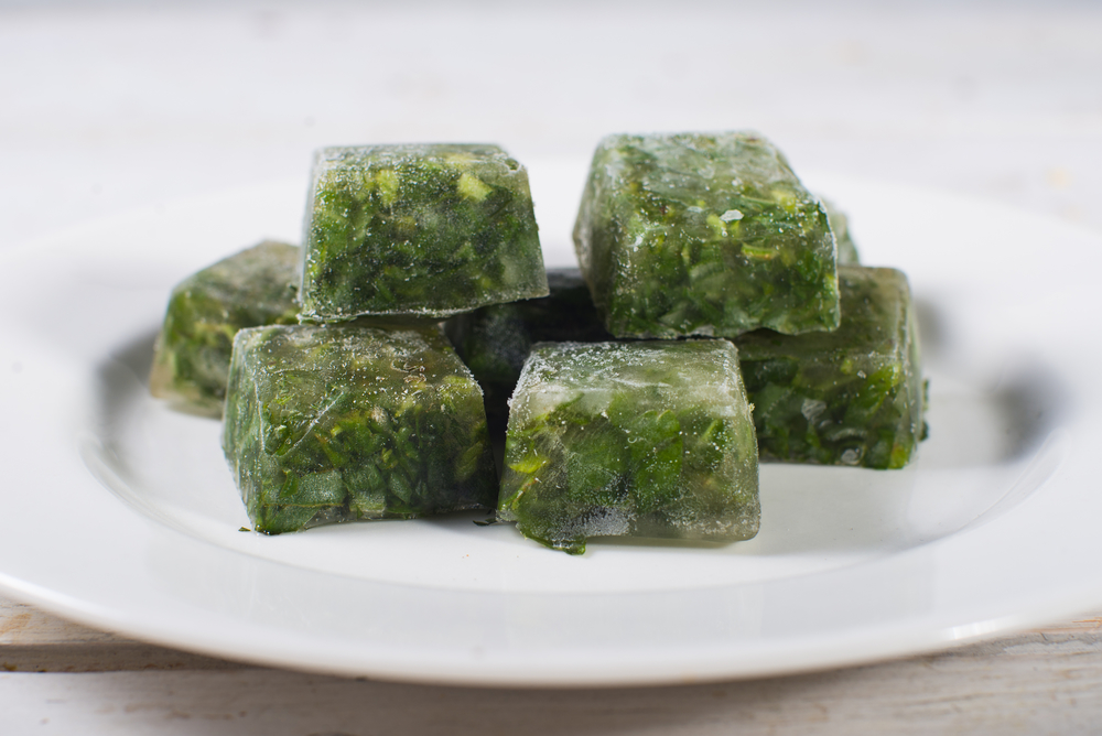 Ready to use basil ice cubes.