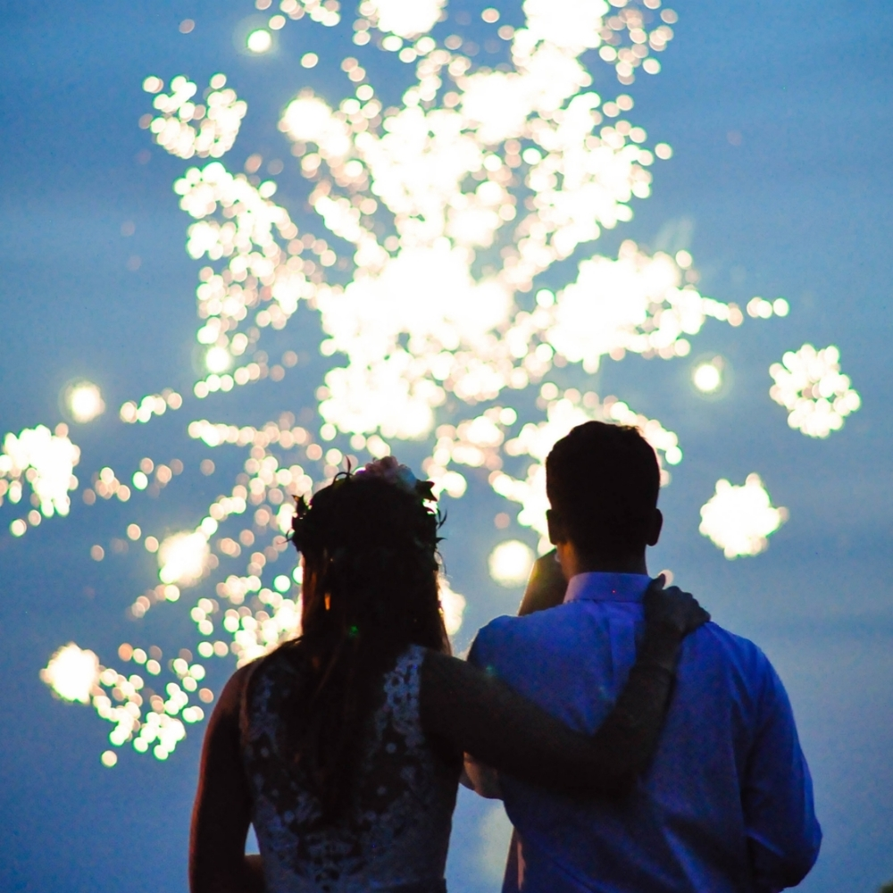 Fire works portrait, sparkler photo bohemian classy couple. 4th of july wedding
