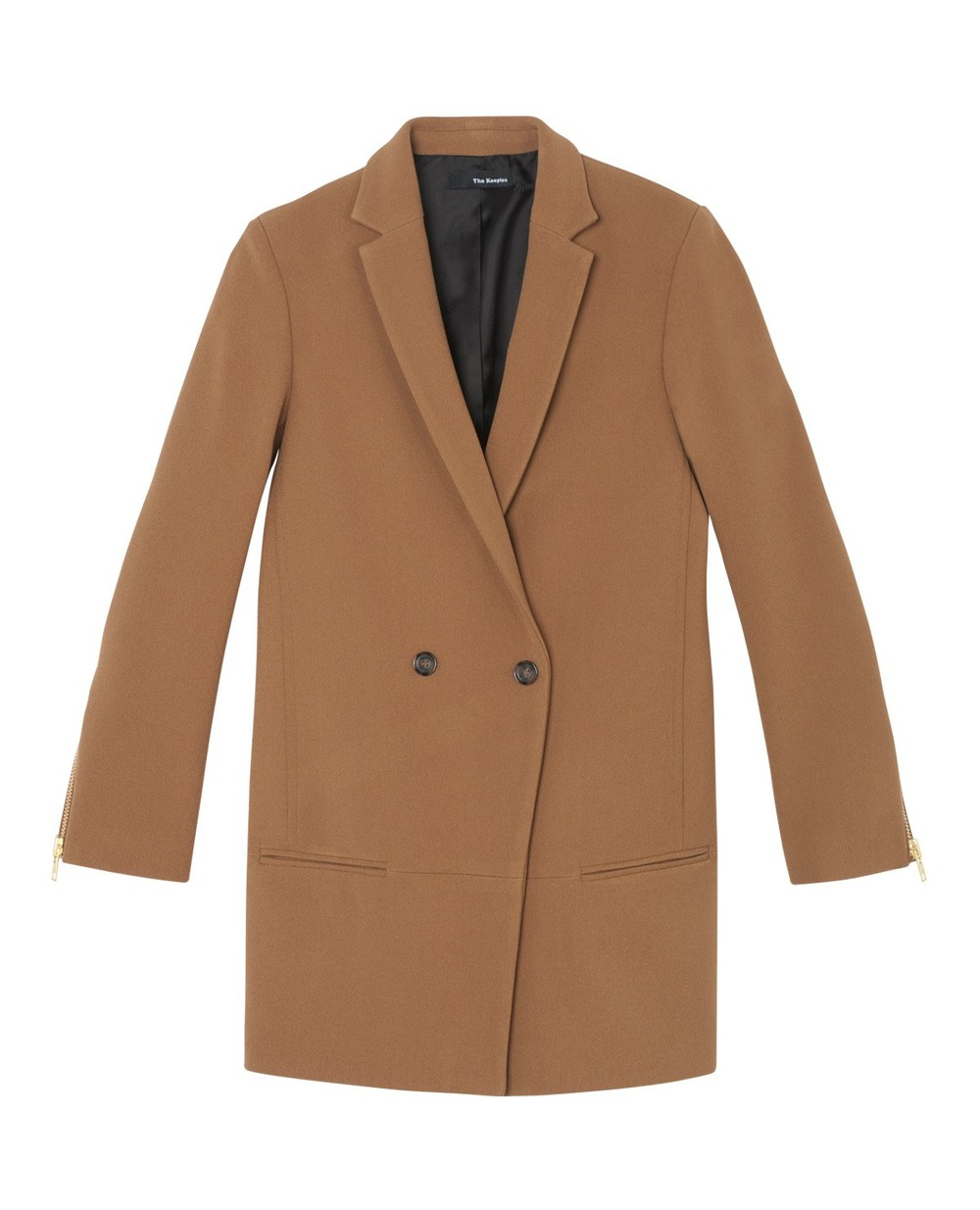 a camel coat from The Kooples