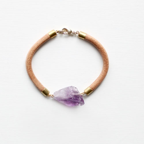 Leather and Amethyst Bracelet , £27/$42