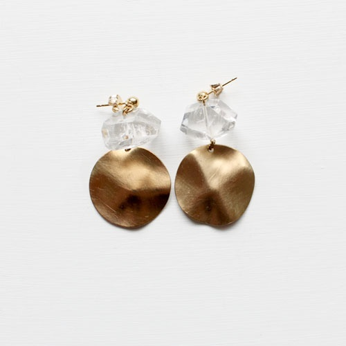 Crystal Quartz and Brass Earrings , £23/$36