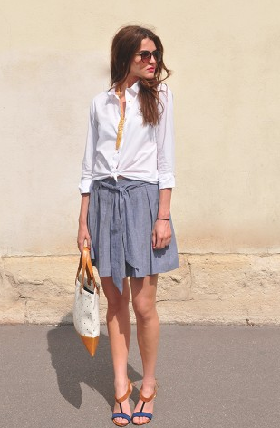 Chambray Mina Circle Skirt / Second Floor Flat