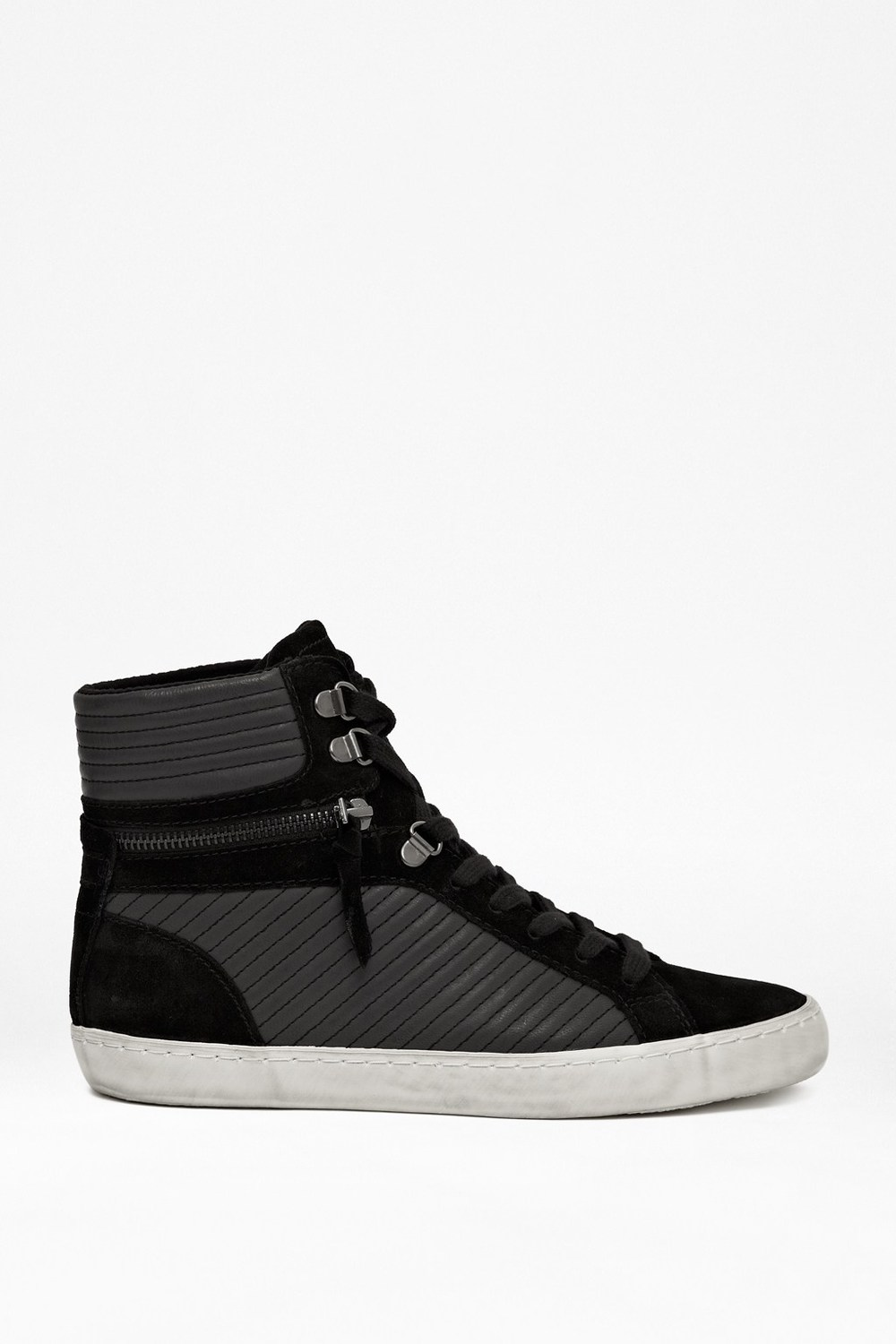 French Connection Lodlow Zipper Leather Trainers / Second Floor Flat