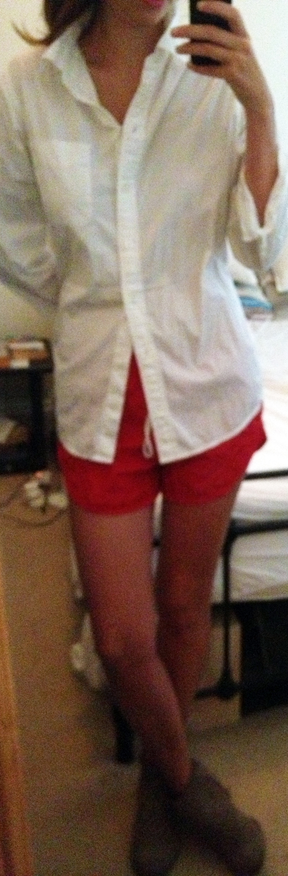 Target White Button-Down Shirt ,  American Apparel Nylon Shorts ,  Dolce Vita Suede Booties