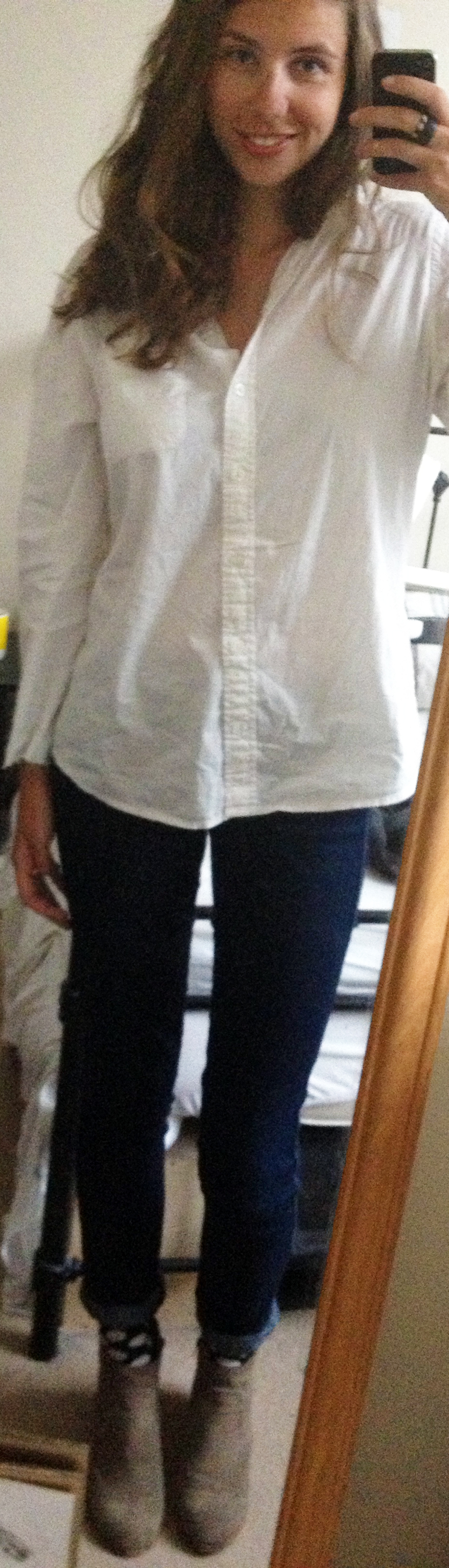 Target White Button-Down Shirt ,  Dark Denim Skinny Jeans ,  DV by Dolce Vita Suede Booties
