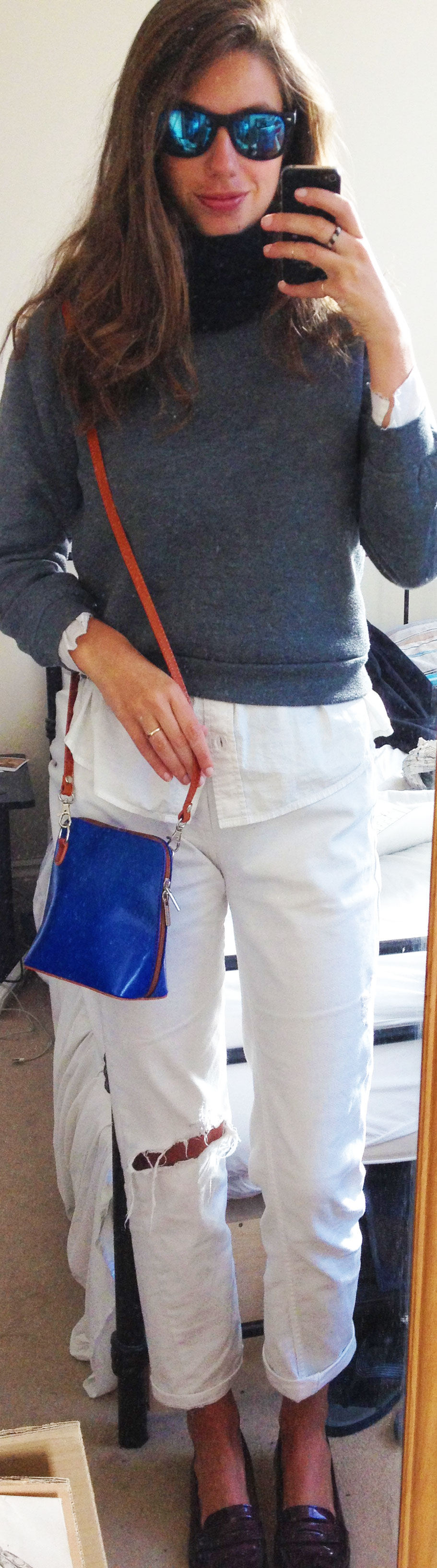 White Boyfriend Jeans ,  Grey Sweatshirt ,  Target White Button-Down Shirt ,  L.K.Bennett Leather Loafers ,  Cobalt Blue Crossbody Bag