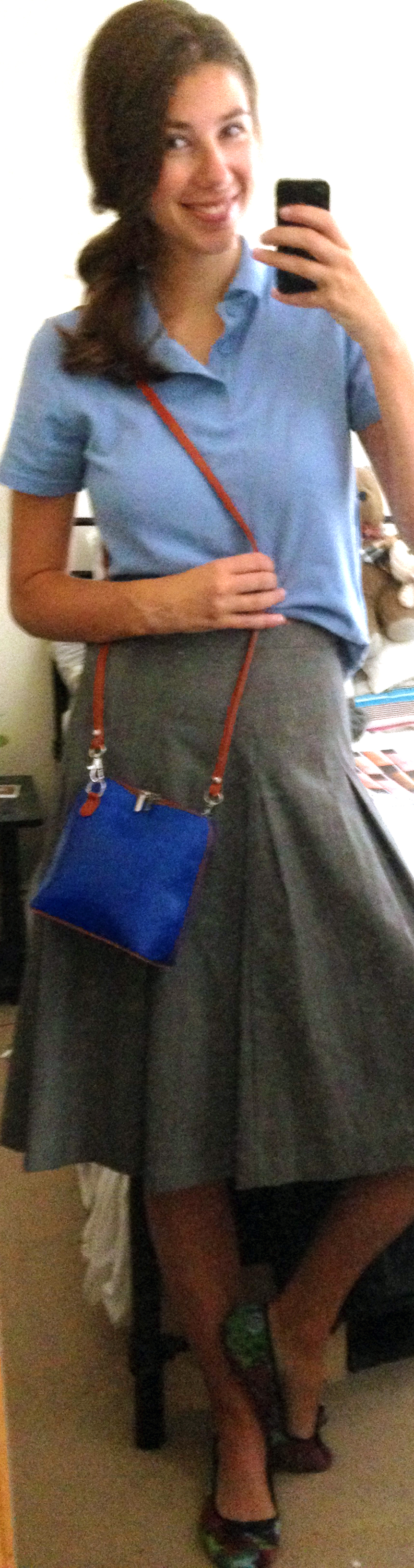 Target x Isaac Mizrahi Grey Plaid Skirt,  Boy's Polo Shirt ,  Cobalt Blue Crossbody Bag ,  Floral Flats