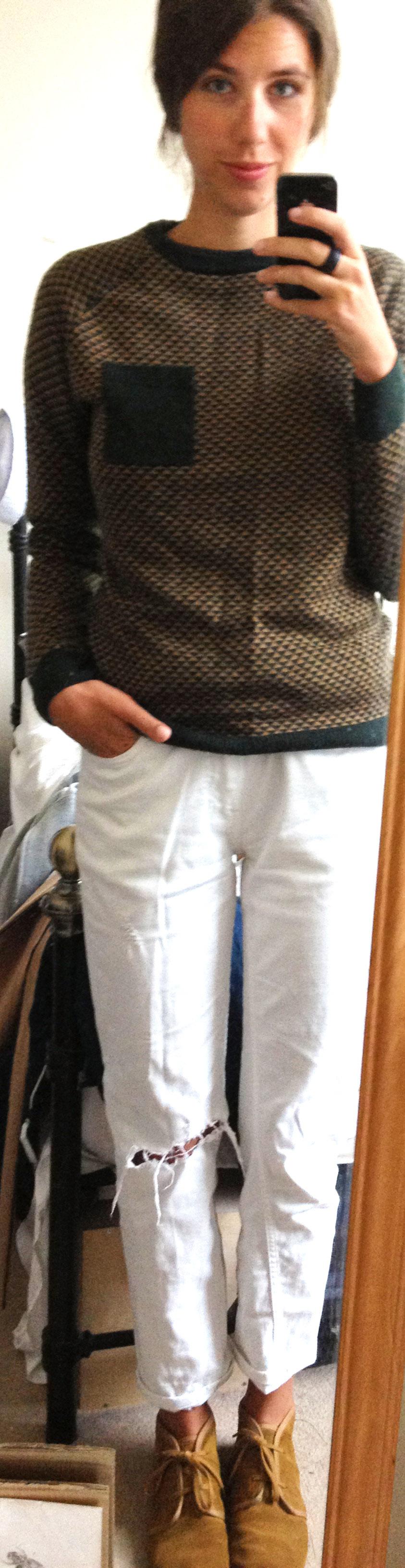 Primark Men's Sweater,  White Boyfriend Jeans ,  Suede Desert Boots
