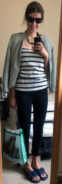 H&M Striped Jacket, H&M Black Pants, Striped Tank, Market Bag, Navy Slide-Ons