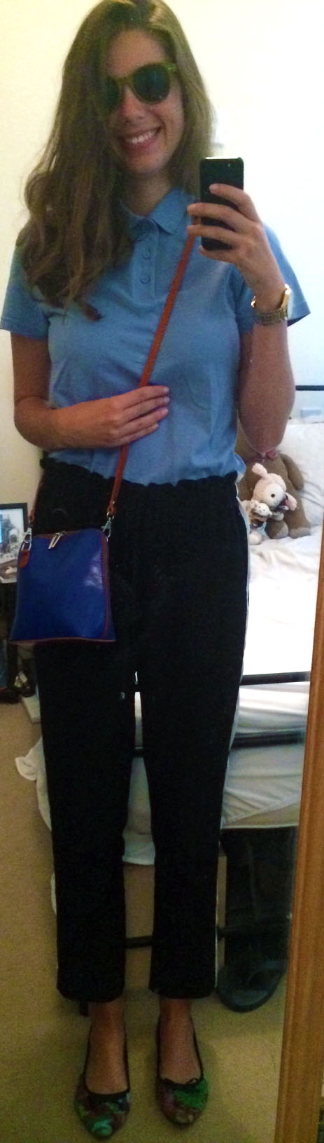 Kids Polo Shirt, River Island Cropped Trousers, Floral Flats,  Cobalt Blue Crossbody Bag