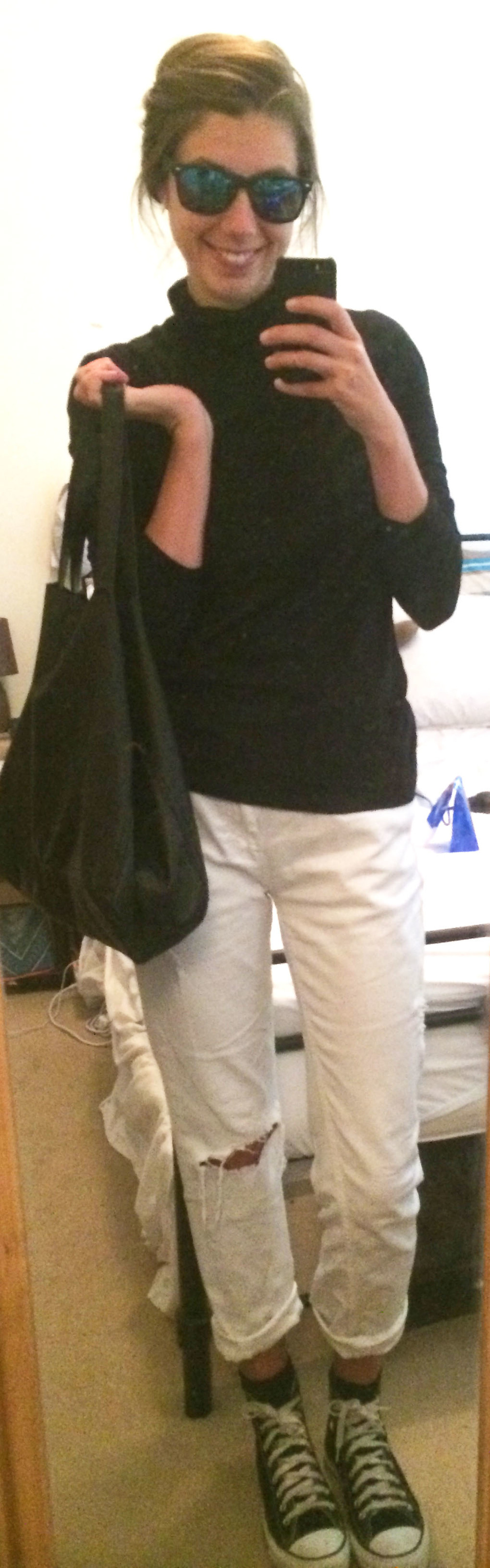 White Boyfriend Jeans ,  Black Converse,   Black Tote ,  Mirrored Sunglasses , $2 Discount Store Turtleneck