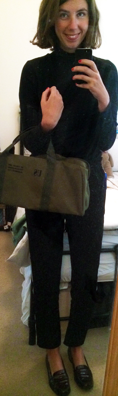 Cropped Black Pants ,  L.K.Bennett Loafers ,  Army Holdall Bag , $2 Black Turtleneck